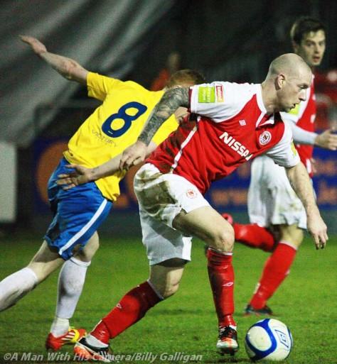 St Pats Stephen O Flynn in action v Monaghan Utd